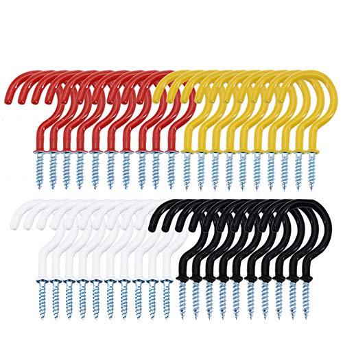 40 ganchos de 5 cm,ganchos de techo,ganchos de rosca,ganchos en forma de S,ganchos para colgar en el techo,interiores y exteriores, ganchos de metal revestido,negro,blanco,rojo,amarillo
