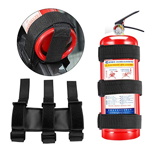 2 PCS Fire Extinguisher Strap Car Fire Extinguisher Fixing Belt Holders for Auto Car in Red and Black
