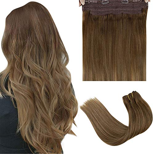 LaaVoo Halo Hair Extensions with Adjustable Wire 16' Balayage Medium Brown Mixed Light Brown with Golden Blonde Remy Halo Brown Human Hair Extensions 80G Balayage Halo Brazilian Human Hair