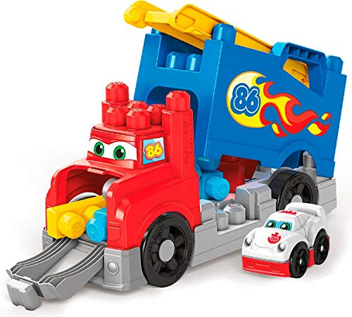 en soldes dernier meilleur service Mega Bloks Mon Camion de Course, jeu de voiture et de blocs de  construction, 15 pièces, jouet pour bébé et enfant de 1 à 5 ans, FVJ01