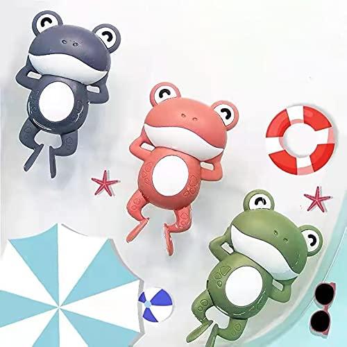LinStyle Juguetes Bañera, Juguetes Baño Bebe, 3 Pcs Juguetes Niños 2 3 4 5 Años, Rana Animal Juguetes Piscina, Regalos para Bebes Niños - Verde, Azul, Rosa
