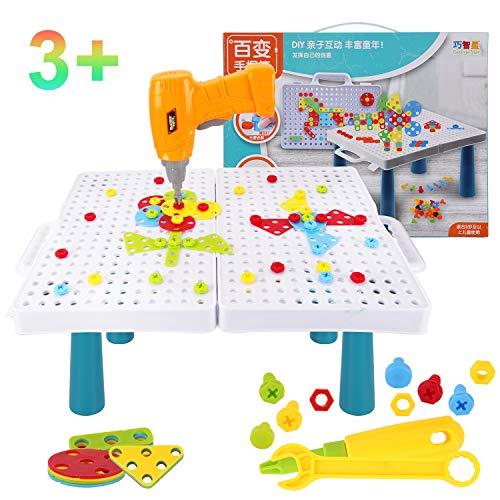 Colmanda Steckspiel Spielzeug, 184 Stück Mosaik Steckspiel 3D Puzzle Kinder Mosaik, kreative Bohrmaschine Schraube Puzzle Lernen Spielzeug für ab 3+ Jahre Junge Mädchen Geschenk