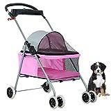 New BestPet Pink Posh Pet Stroller Dogs Cats w/Cup Holder