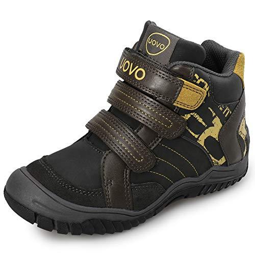 UOVO Kids Boys Hiking Shoes Waterproof Trekking Boots Trail Running Sneakers Lightweight Hi Top Outdoor Athletic Sport Boys Shoes (4.5 M US Big Kid, Dark Grey)