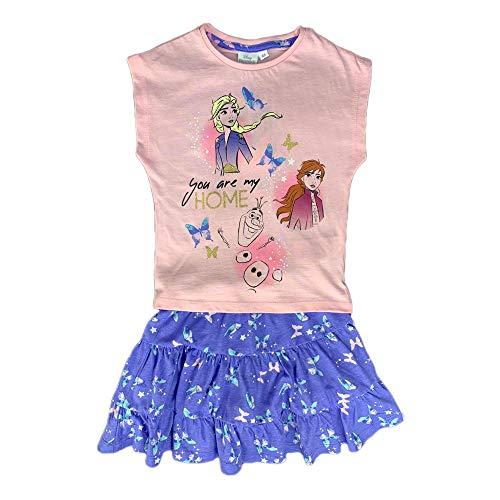 Disney Camiseta con falda de Frozen II de algodón, vestido estampado 1827 Rosa 4 Años