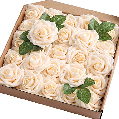 Ruiuzi Rosa Artificial Flor 25PCS Rosa Falsa Espuma Mirada Real con Hoja y Vástago Ajustable para Bricolaje Ramos de Boda Decoraciones para el Hogar Nupciales (Champán, 25pcs)