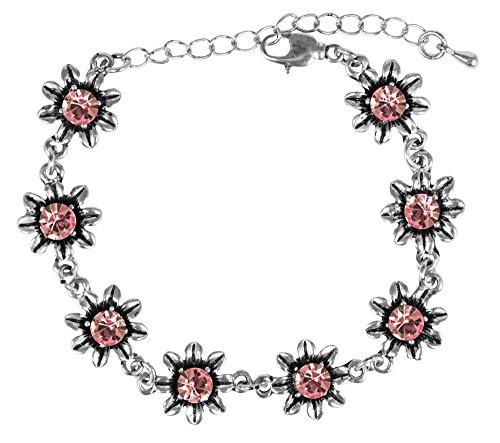 Silbernes Strass Armband mit Blüten - Rosa