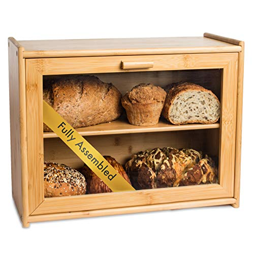 LAURA'S GREEN KITCHEN Large Bread Box: Bamboo Bread Box with Clear Front Window - Farmhouse Style Bread Holder for Kitchen Counter - Double Layer Bread Storage Bin Holds 2 Loaves (Fully Assembled)