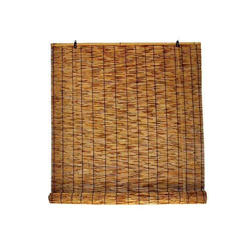 Persianas De Bambú-Cortina Enrollable Exterior- Estor Filtrantes De Luz-Persianas De Caña Carbonizada Natural,para Terraza-Pérgola,Sombrilla/Anti-UV,Personalizable,W140xH240cm/55x94in