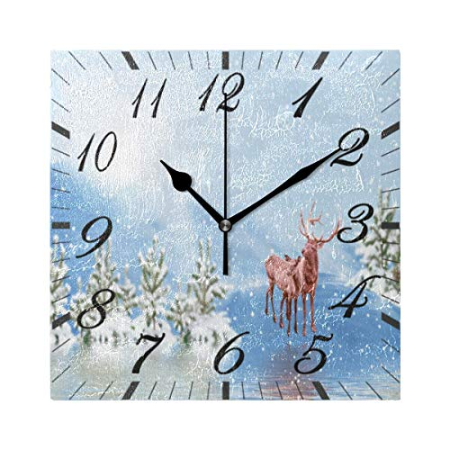 Jacque Dusk Reloj de Pared Moderno,Reno de Copo de Nieve de Nieve Feliz árbol de Navidad,Grandes Decorativos Silencioso Reloj de Cuarzo de Redondo No-Ticking para Sala de Estar,25cm diámetro