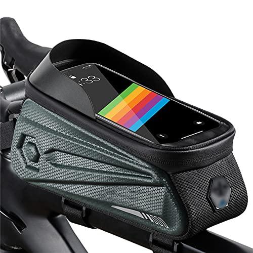 OEMC Bolsa para Cuadro De Bicicleta Impermeable con Soporte para Teléfono, con Táctil De Tubo Superior Delantero Bolsa De Alta Capacidad Manillar para Teléfono Inteligente por Debajo De 7pulgadas