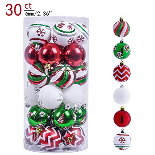 Valery Madelyn 30ct 60mm Classic Collection Splendor Red Green White Shatterproof Christmas Ball Ornaments Decoration,Themed with Tree Skirt(Not Included)
