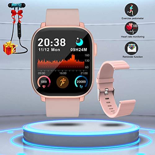 Montre Connectée Femmes Homme Smartwatch Etanche Bracelet Connecté Cardio Podomètre Bluetooth Tactile Smart Watch Montre Sport Fitness Trackers d'Activité Chronomètre pour Android iOS Téléphone(Rose)