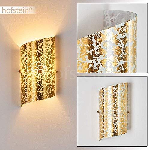 Lampada da parete Pordenone in vetro di colore oro strutturato - Applique murale per interni - Luce dorata con effetto Up & Down - Attacco E14 max. 40 Watt