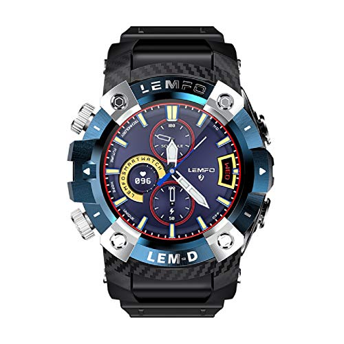 YING Reloj Inteligente, Wireless Bluetooth 5.0 Auricular 2 En 1 360 * 360 Touch Full Touch HD Sportwatch Smartwatch para Hombres