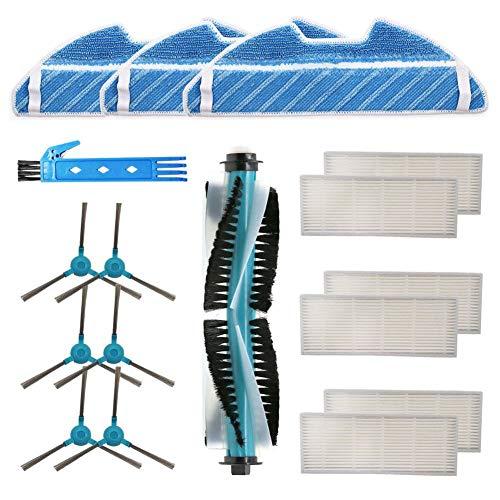 DOKKOO Kit de repuestos Accesorio para Cecotec Conga 1490 Cecotec Conga 1590 Robot Aspirador Repuestos Paquete de 1 Cepillo Principal, 6 filtros Hepa, 6 cepillos Laterales, 3 Trapos de fregona