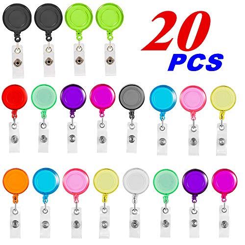 Badge Reel, Retractable Badge Reel with Metal Belt Clip, 20 Pack Retractable Badge Holder ID Badge Reel Clip for ID Card Badge Holder Key Keychain Holders (10 Colors)