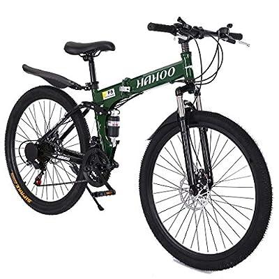 USA in Stock 26 inch Mountain Bike Foldable Full Suspension 21 Speed Folding Bike Non-Slip Bike for Adults Sport Wheels Disc Brake Aluminum Frame MTB Bicycle Track Bike Road Bikes