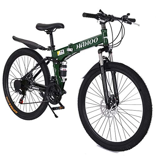 ETHY 26 inch Full Suspension Mountain Bike 21 Speed Folding Bike Non-Slip Bike Hight-Adjustable for Youth and Adult Mountain Bike for a Path, Trail & Mountains,Green