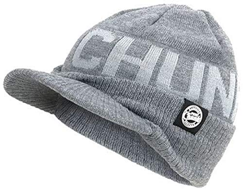Fox Chunk Peaked Beanie Hat Wollmütze Grey
