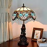 L.W.SURL Europäische Kreative Mittelmeer Tiffany Stil Tischlampe Kindling 7 Watt Retro Lackiertem Glas Lampenschirm Retro Restaurant