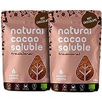 Cacao en Polvo Orgánico Soluble Natural Athlete 75% Menos de Azúcar, Bio, Sin Gluten, Sin Lactosa, Vegano, Solo Azúcar de Coco -Pack 2x225 g