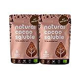 Cacao en Polvo Soluble Natural Athlete con Azúcar de Coco, Sin Gluten, Sin Lactosa, Vegano, 75% Menos de Azúcar -Pack 2x225 g