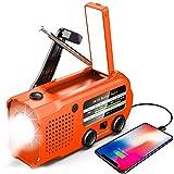 Radio de emergencia, 5000 mAh, radio solar de manivela de mano, radio...