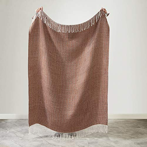 "PHF Knit Throw Blanket for Travel Picnic Beach Soft Chunky Cozy Fringed Warm Acrylic Waffle Weave Texture Decorative, 50"" x 60"" Brown"