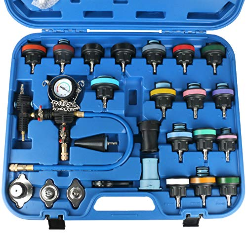 MR CARTOOL 28pcs Radiator Pressure Tester Vacuum Cooling System Purge Coolant Refill Tool Kit Automotive Water Tank Leak Detector Compatible for Most of Cars