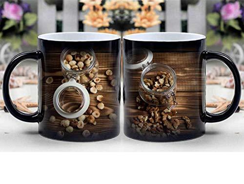 Amymami Personalized Gifts Heat Changing Magic Coffee Mug - Nuts Filbert Walnut Wooden Background