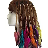 6PCS Women Lady Handmade Boho Hippie Hair Extensions with Feather Clip Comb DIY Accessories Hairpin Headdress