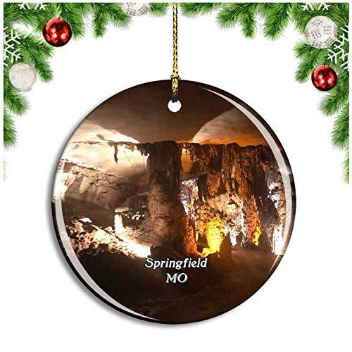 Weekino Springfield Fantastic Caverns Missouri USA Christmas Ornament Xmas Tree Decoration Hanging Pendant Travel Souvenir Collection Double Sided Porcelain 2.85 Inch