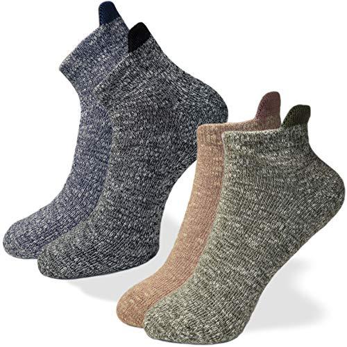 4 Paia - Calze in cotone fiammato con linguetta posteriore - Collezione Pasini Fashion ENJO - confortevoli e alla moda (Nero e Blu 43-46)