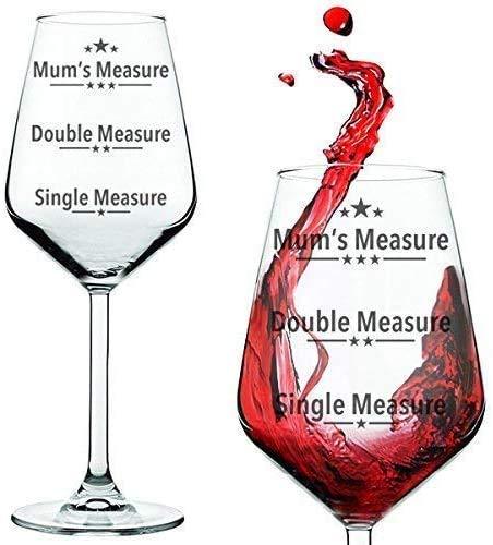 Copa de vino con texto en Medida única, Medida doble, Medida de las madres, para...
