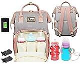 Tasche für Mutter Flaschenwärmer Mommy bag Rucksack Kinderwagen Taschen Organizer (Pink)
