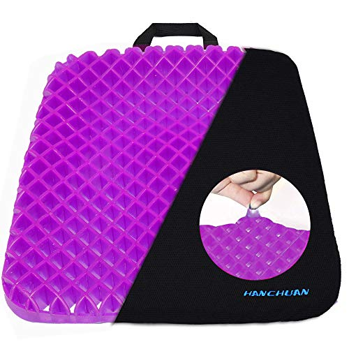 HANCHUAN Gel Seat Cushion Pressure Absorbs Honeycomb Sitter Elastic Support Chair Pad for Office, Dinner, Driving, Wheelchair & Mobility Scooter Cushions Comfort and Comfort Large Seat Cushion (Thin)