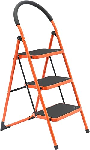 discount LUISLADDERS 3 Step Ladder Folding 3 2021 Step Stool with new arrival Handgrip Anti-Slip and Wide Pedal Sturdy Steel Ladder 330lbs sale