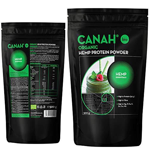 Canah Biologische hennepproteïnepoeder, 500 gram - rijk aan proteïne, omega 3, aminozuren, mineralen, magnesium, fosfor, ijzer en zink - koud Verwerkte Vegaproteïne