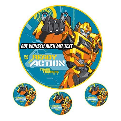Tortenaufleger aus Zuckerpapier - Tortenbild Geburtstag Tortenplatte Zuckerbild Motiv: Transformers Ready for Action