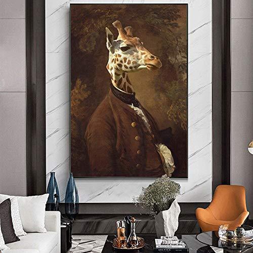 wZUN Jirafa en el Vestido Pintura clásica de la Lona en los Carteles del Arte de la Pared e Impresiones de Las imágenes de la Pared del Arte de la Lona del Sr.Giraffe 60x80 Sin Marco