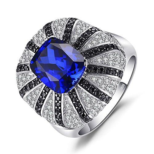 JewelryPalace 3.9ct Erstellt Blue Sapphire Natürlicher Schwarzer Spinell Cocktail Ring Massiver 925 Silber Ring