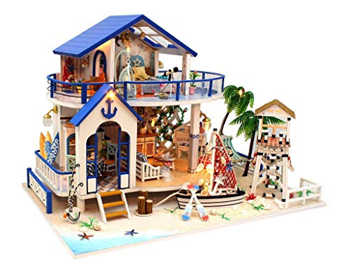 Architecture Model Building Kits with Furniture LED Music Box Miniature Wooden Dollhouse Legend of The Blue Sea Series 3D Puzzle Challenge