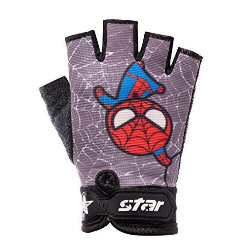 CCDD Kinder Halbfingerhandschuhe, kurzes rutschfestes, atmungsaktives MTB für Frühling und Sommer, VTT Handschuhe, schützende Fitness Fahrradhandschuhe Spiderman Gray_L