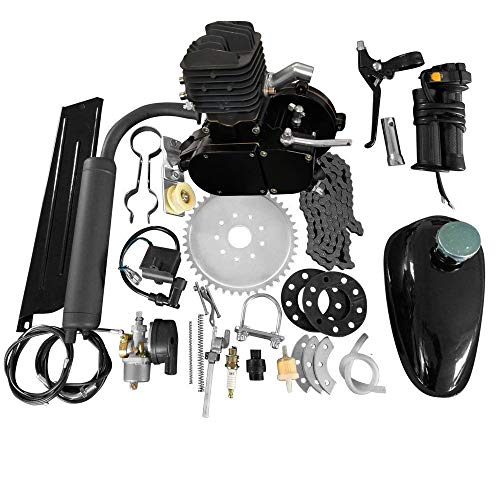MOTOOS 80CC 24' 26' 28' 2 Stroke Bike Bicycle Motorized Cycle Petrol Gas Engine Motor Kit Set (Black)