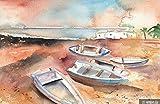 Wallpaper Wandbild Abstrakte Strand Strand Fischerboot