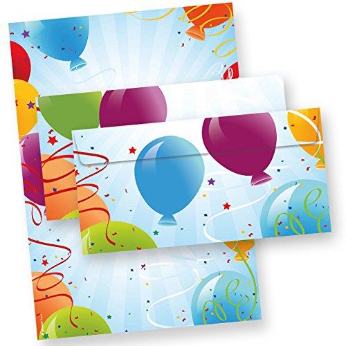Briefpapier Geburtstag Set Luftballon 25 Sets Briefpapier mit Umschlag beidseitig DIN A4