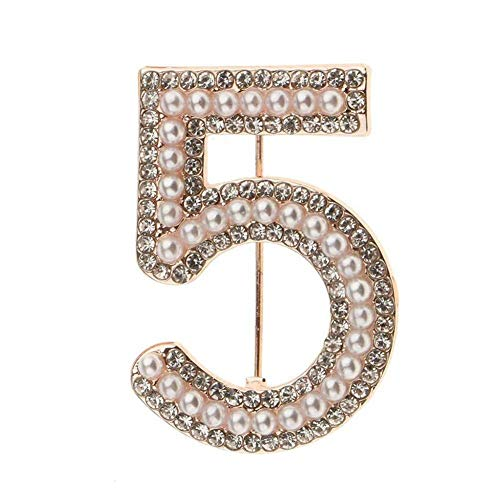 Women 5 Figure Faux Pearl Rhinestone Badge Brooch Pin Clothes Jewelry