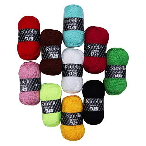 Hilo de Tejer (10 Piezas) - 50g, 80m Hilo por Ovillo - Hilo de Acrilico en Surtidos colores - Perfecto Hilo para Proyecto de Ganchillo y Tejer