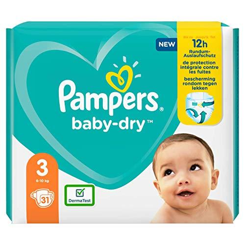 Pampers Baby-Dry Größe 3 Windeln 31, bis zu 12 Stunden Schutz, 6-10kg